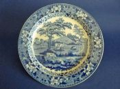 Rare Sewell of Newcastle Blue and White 'Milkmaid' Pattern Pearlware Plate c1820